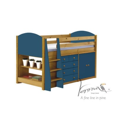Verona Design Ltd Midsleeper Bed in Antique Pine and Blue