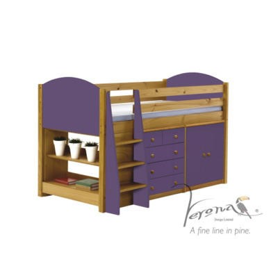 Verona Design Ltd Midsleeper Bed in Antique Pine and Lilac