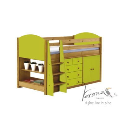 Verona Design Ltd Midsleeper bed in Antique Pine and Lime