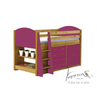 Verona Design Ltd Midsleeper Bed in Antique Pine and Fuchsia