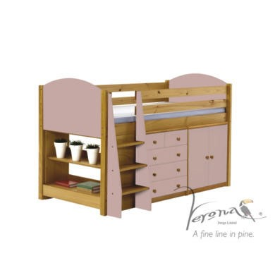 Verona Design Ltd Midsleeper Bed in Antique Pine and Pink