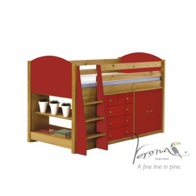 Verona Design Ltd Midsleeper Bed in Antique Pine and Red