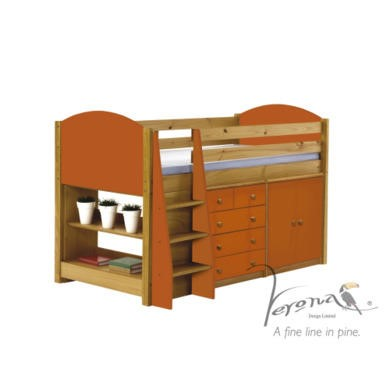 Verona Design Ltd Midsleeper Bed in Antique Pine and Orange