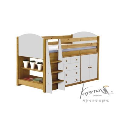 Verona Design Ltd Midsleeper Bed in Antique Pine and White