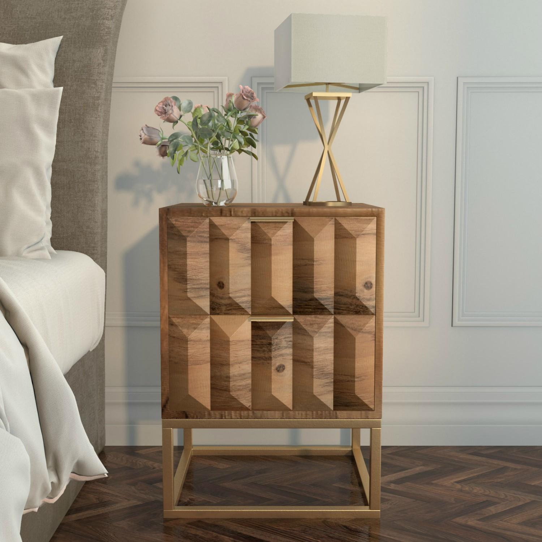 Miller Solid Mango Wood Bedside Table 2 Drawer Furniture123