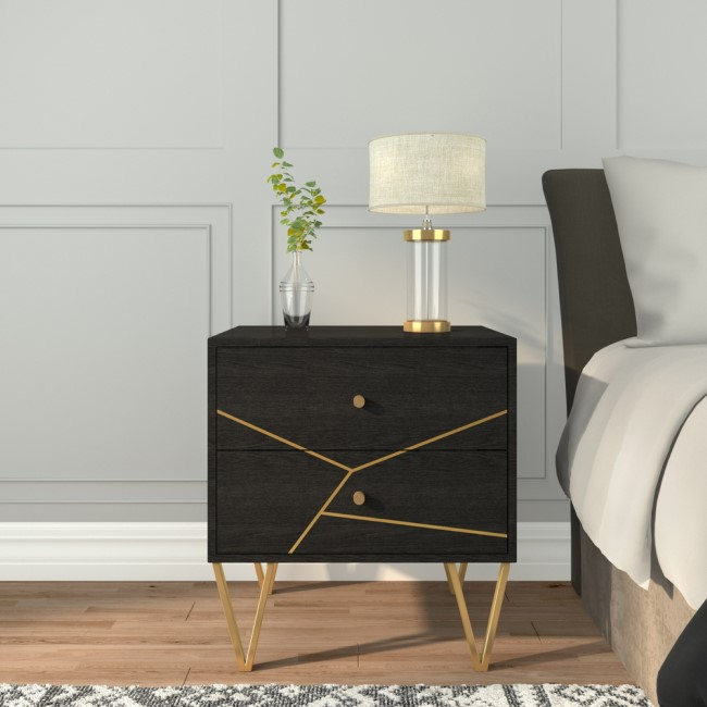 GRADE A2 - Mika 2 Drawer Dark Brown Bedside Table with Brass Inlay
