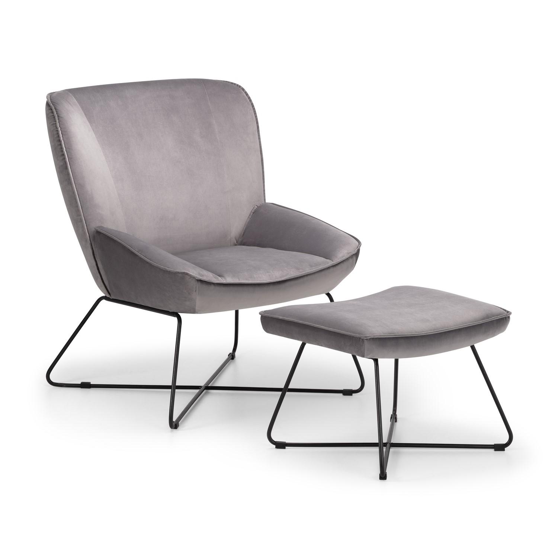 Julian Bowen Mila Grey Velvet Armchair & Footstool