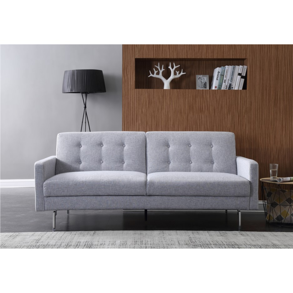 Kyoto Futons Milano Clic-Clac Sofa Bed in Silver Fabric ...