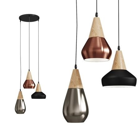 Hyde Cluster Pendant Light with Wood & Metal Finish