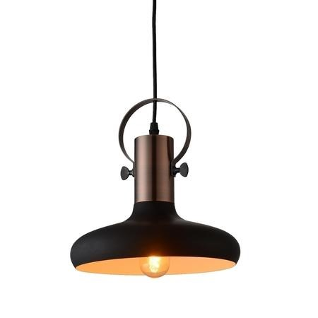 Industrial Black Pendant Light with Copper Finish - Kingston