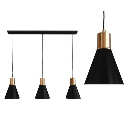 Broadway Black Bar Light with Brass Finish - Cluster Pendant Light
