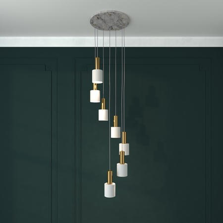 7 Light Ceiling Light with Marble & Gold Pendants - Jersey