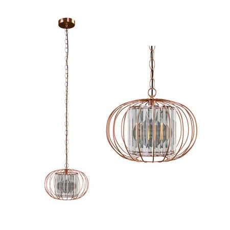 Rose Gold Metal Pendant Light with Glass Inner