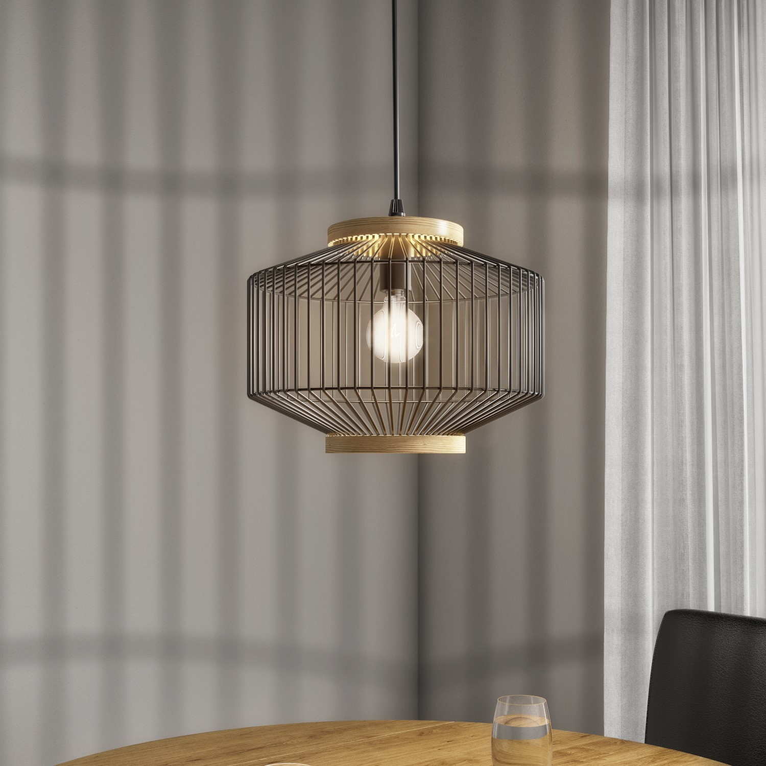 Picture of: Black Metal Cage Pendant Light Woodbury Furniture123