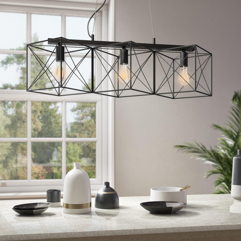 Photo of 3 light pendant bar light in matte black