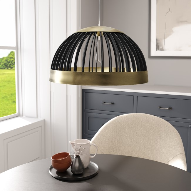 Gold Half Pendant Light with Black Wood - Mayfield