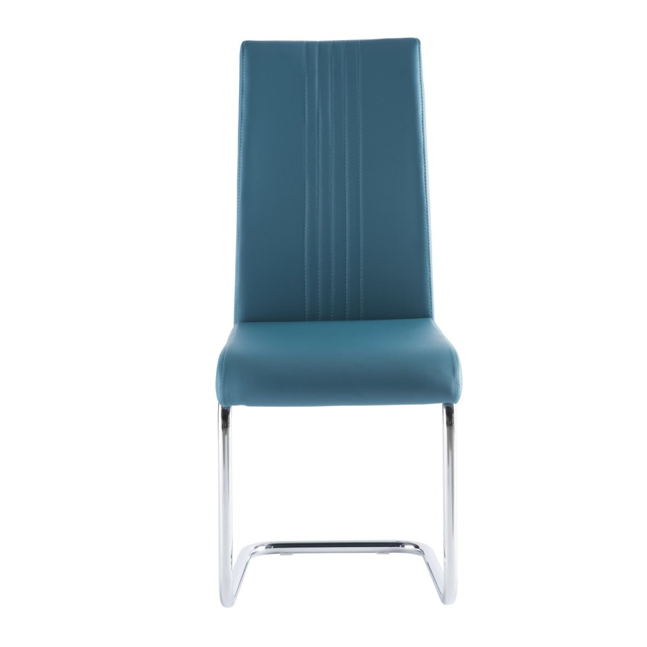 Monaco Cantilever Dining Chair in Teal Faux Leather ...