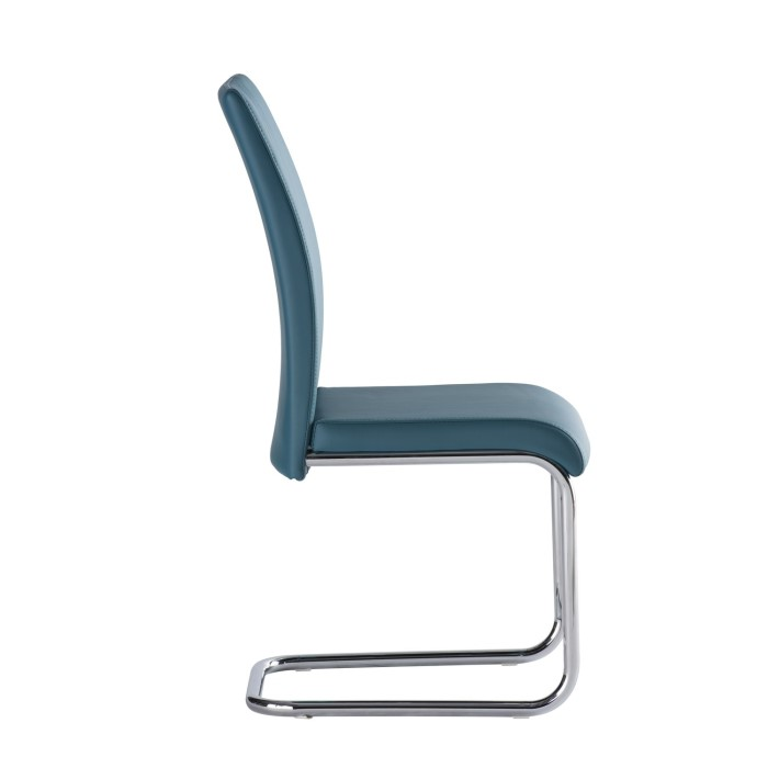 Monaco Cantilever Dining Chair In Teal Faux Leather