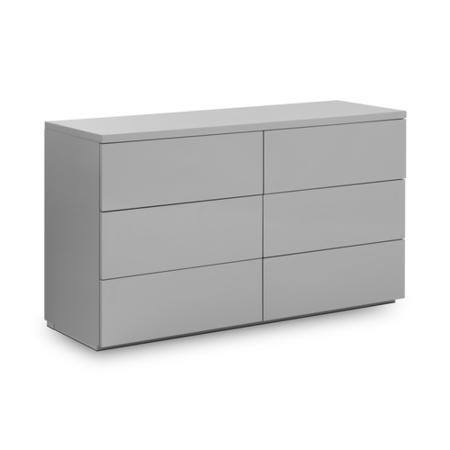 Julian Bowen Monaco 6 Drawer Wide Chest in Grey High Gloss