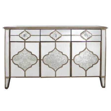 Aurora Boutique Morocco Vintage Mirrored 3 Drawer 3 Door Sideboard with Gold Trim
