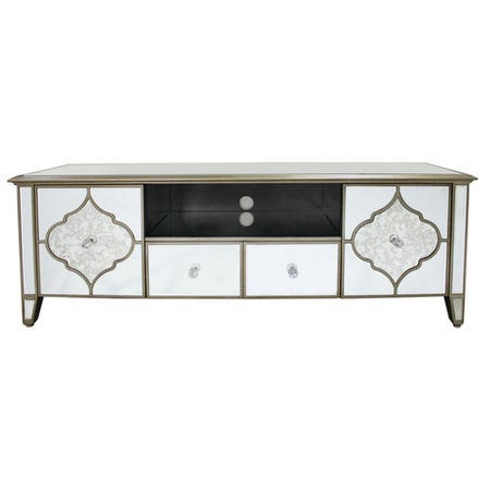 Aurora Boutique Large Mirrored TV Unit with Gold Frame - TV's up to 73""