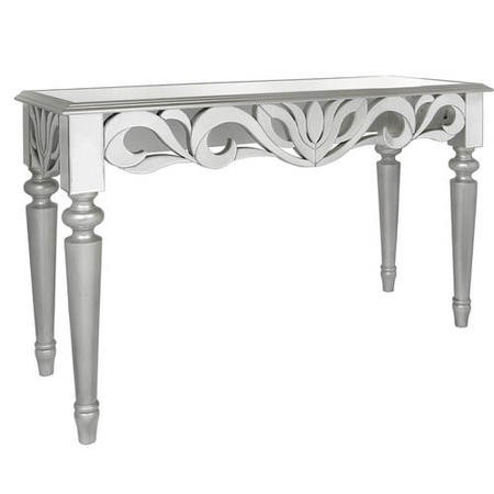 Aurora Boutique Corinthia Silver Painted Console Table with Mirrored Table Top