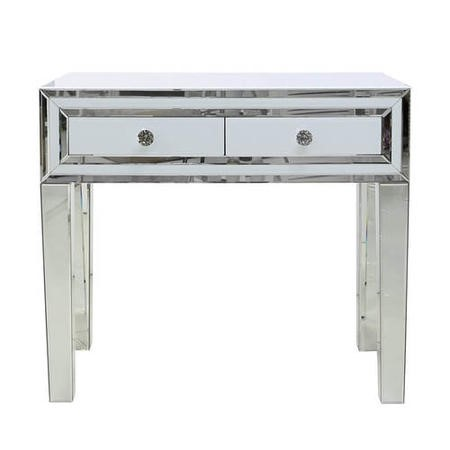 Aurora Boutique White Mirror Console Table with Crystal Handles