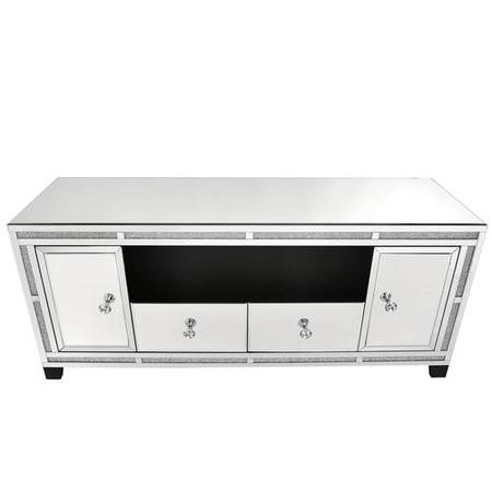 Aurora Boutique Mila Mirrored TV Unit with Crystal Inlay- Large