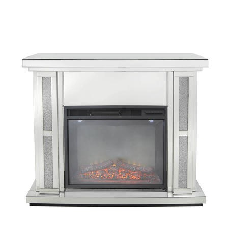 Aurora Boutique Sparkel Mirrored Fire Surround with Fire Insert & Glitter