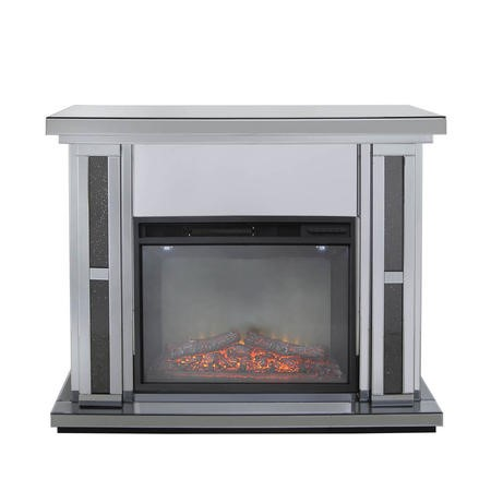 Aurora Boutique Smoked Black Mirrored Fire Surround with Fire Insert & Glitter