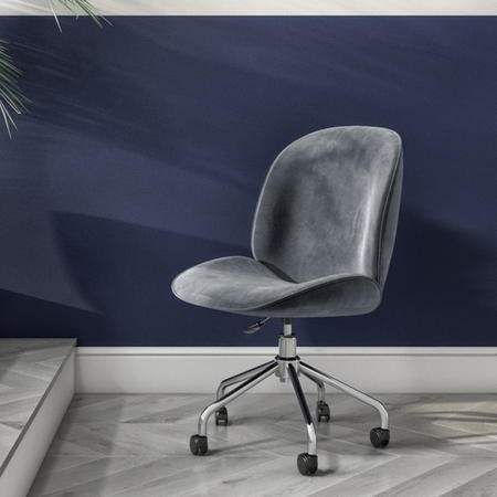 Grey Velvet Office Swivel Chair with Silver Base - Marley