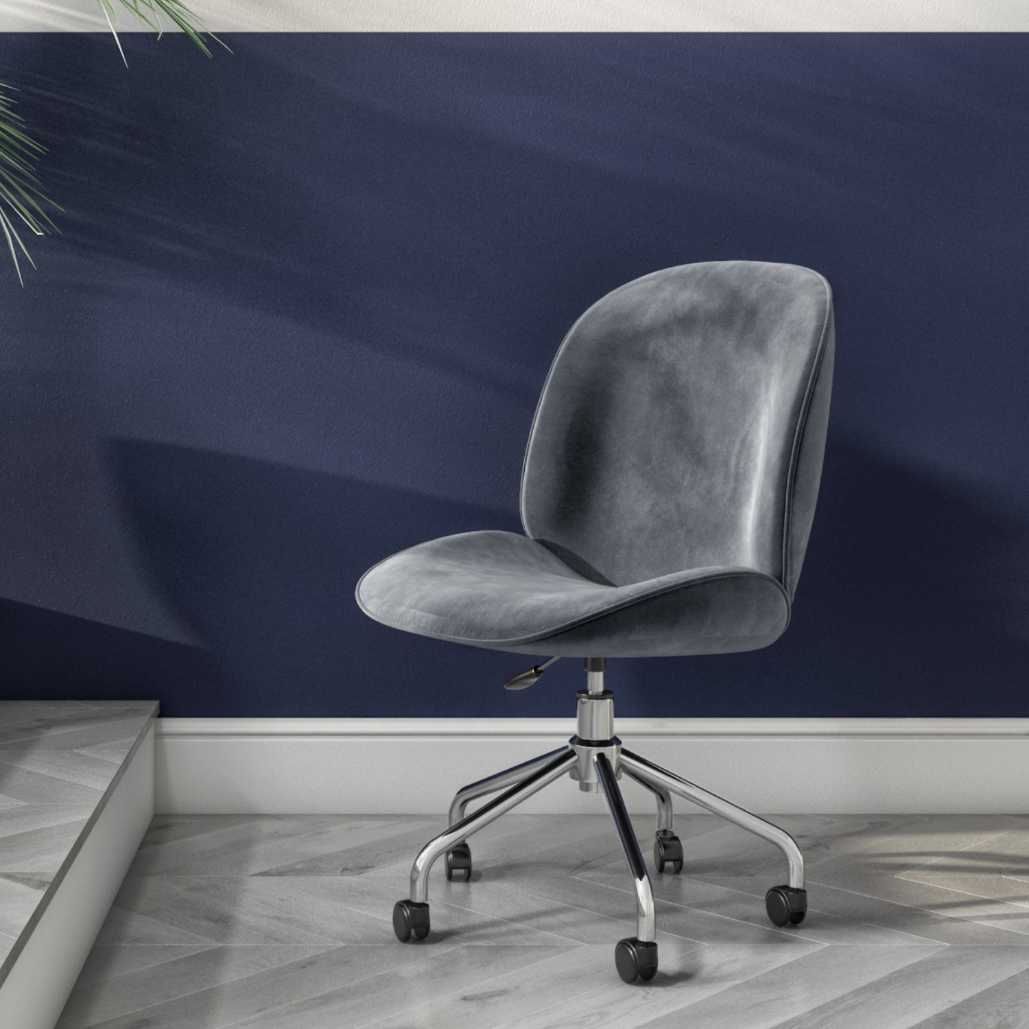 Grey Velvet Office Swivel Chair with Silver Base  Marley