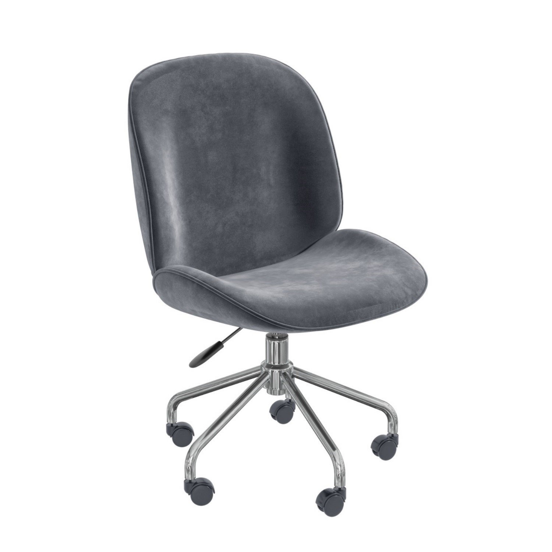 Marley Grey Velvet Bedroom Swivel Chair with Silver Base