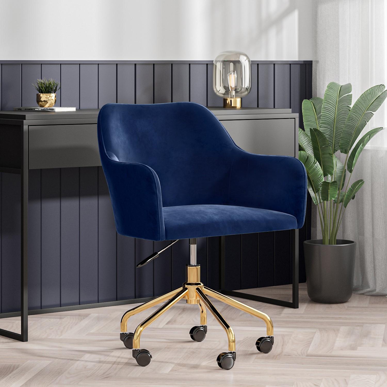 Navy Blue Velvet Office Swivel Chair with Gold Base - Marley