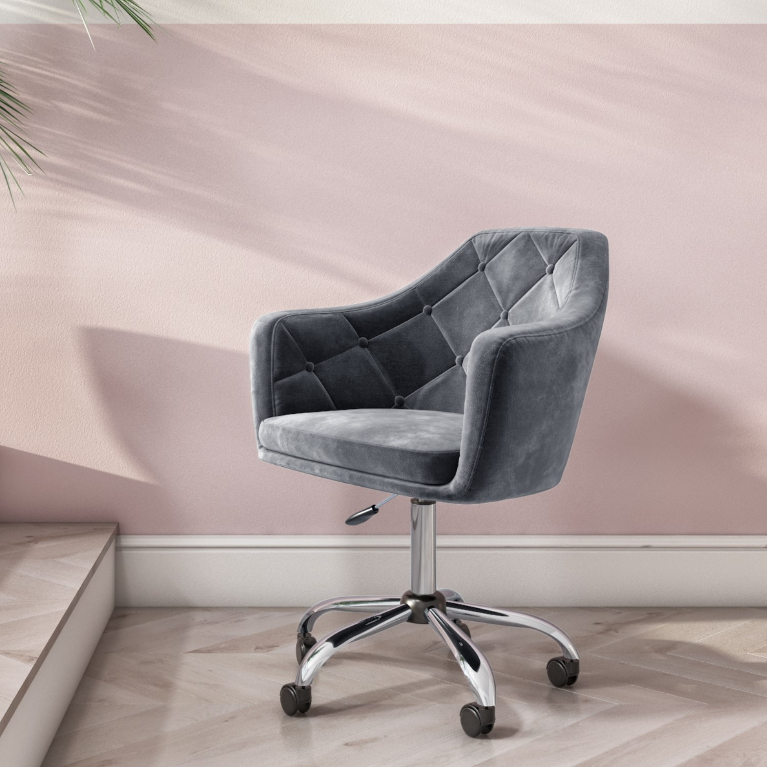 Grey Velvet Office Swivel Chair with Button Back - Marley