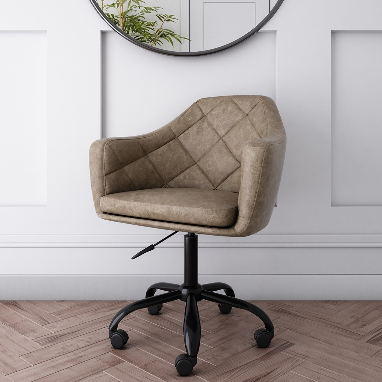 Beige Faux Leather Office Chair With Swivel Base Marley Furniture123