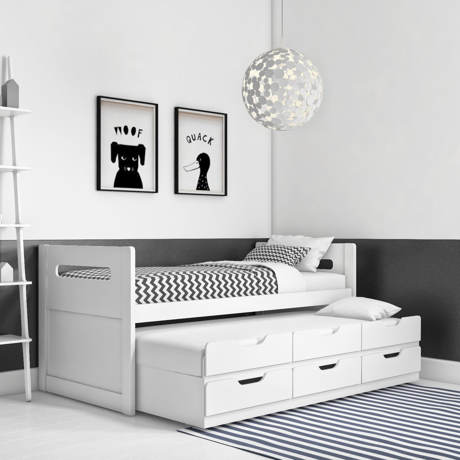 Matisse White Captain's Guest Bed with Storage  Trundle Included