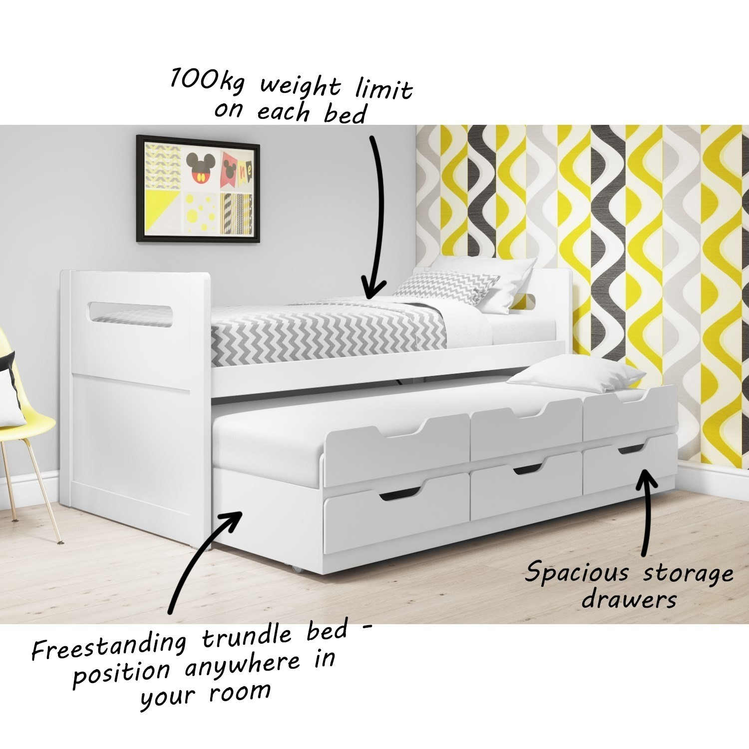 Matisse Captains Guest Bed in White