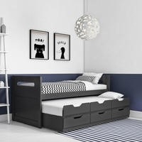 Matisse Captain's Guest Bed in Dark Grey/Anthracite - Trundle Bed Included