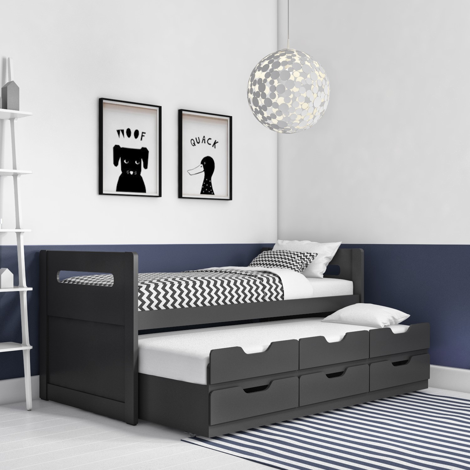 Matisse Captain S Guest Bed In Dark Grey Anthracite Trundle Bed Included Furniture123