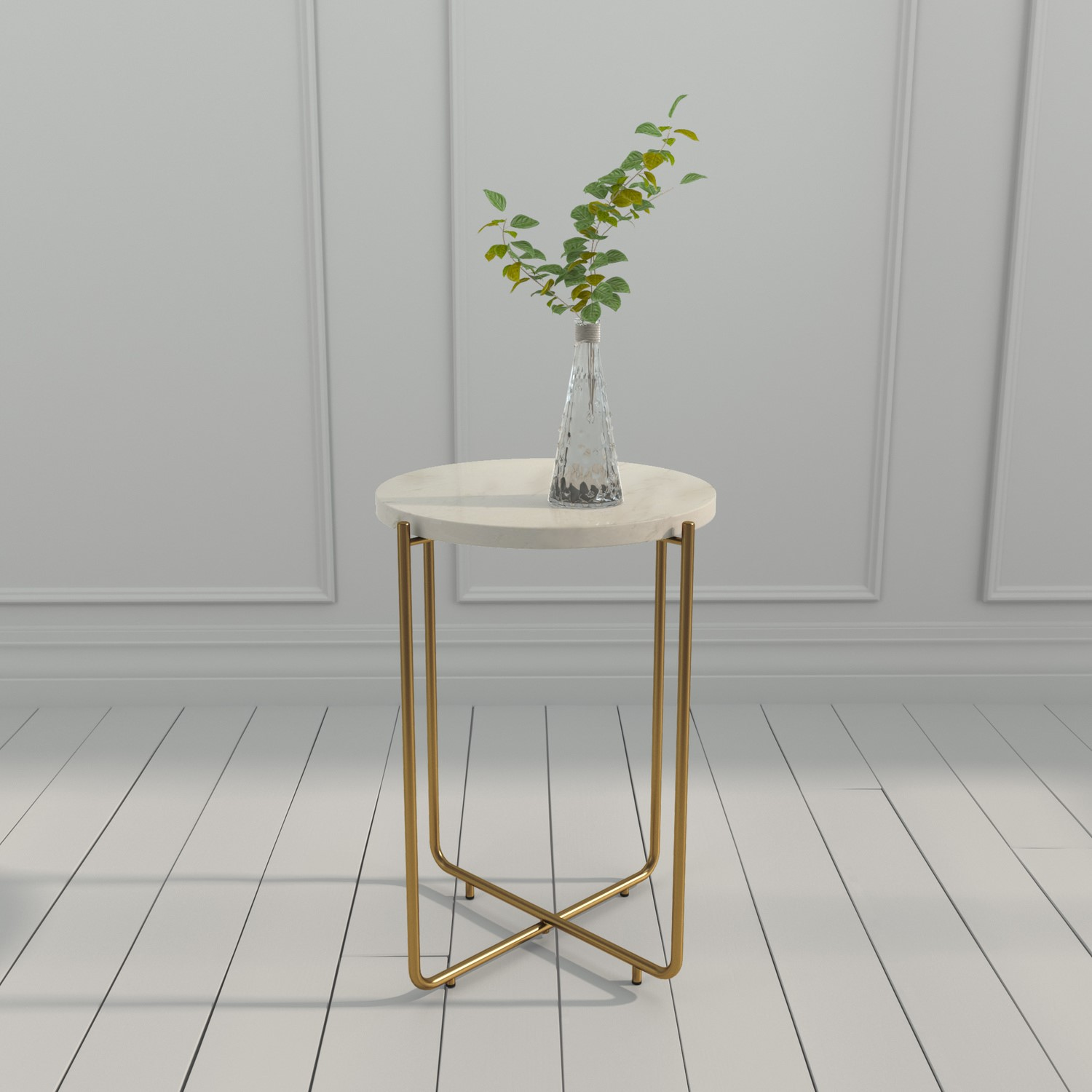 Picture of: Marble Side Table In White With Gold Metal Martina Furniture123