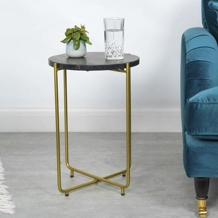 Black Marble Side Table with Gold Legs - Round