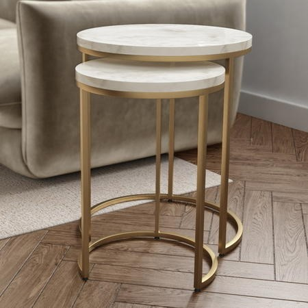 Marble Nest of Tables in White with Gold Metal Bases - Martina