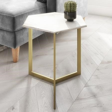Marble Side Table in White Hexagon & Gold Metal - Martina