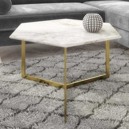 White Marble Coffee Table with Gold Legs - Hexagon