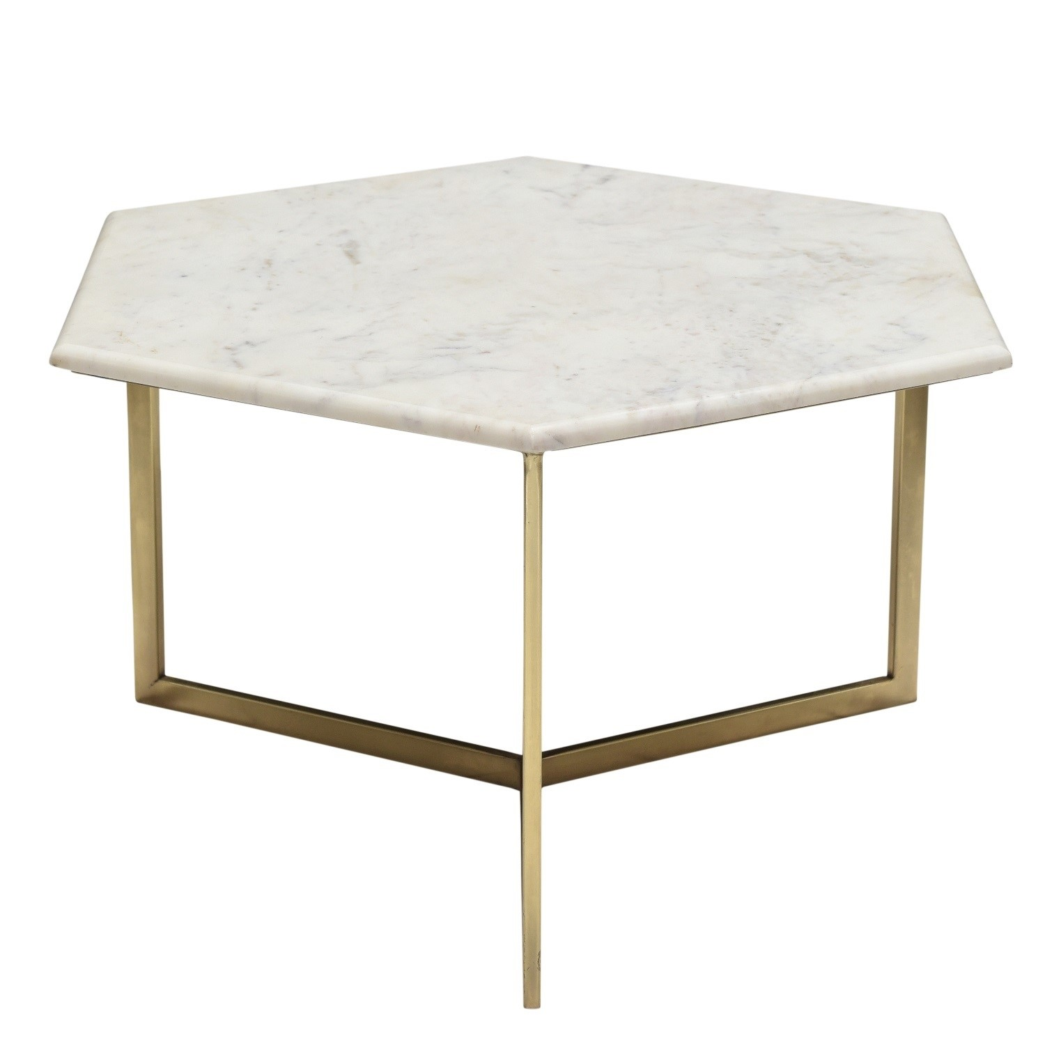 Marble Coffee Table In White Hexagon Gold Metal Martina