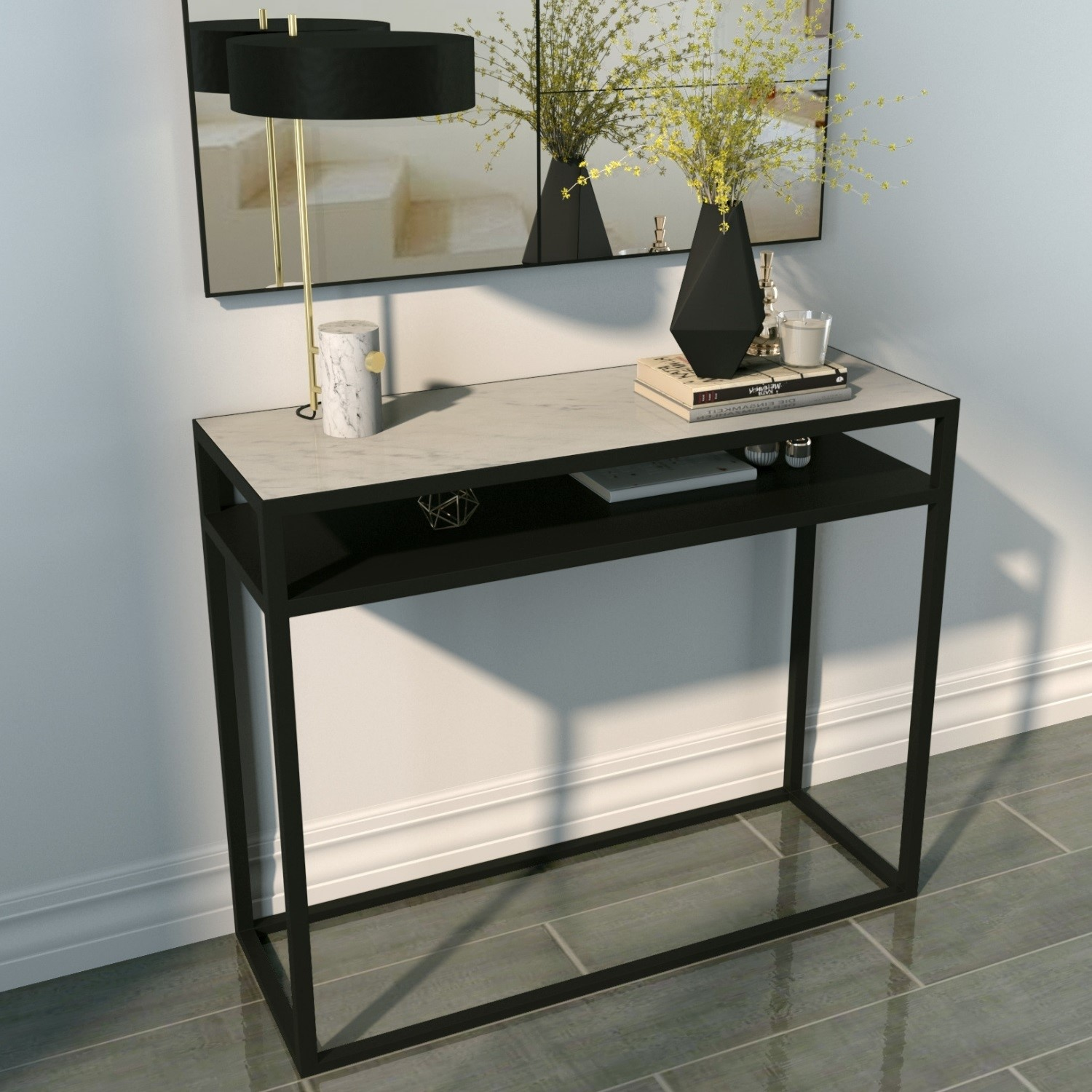 Picture of: Marble Top Console Table With Black Iron Base Narrow Furniture123