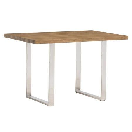 Naples Modern French Oak Dining Table with Stainless Steel Legs - 1.2m