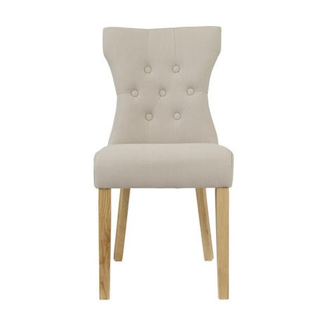 LPD Naples Pair of Dining Chairs in Beige Fabric