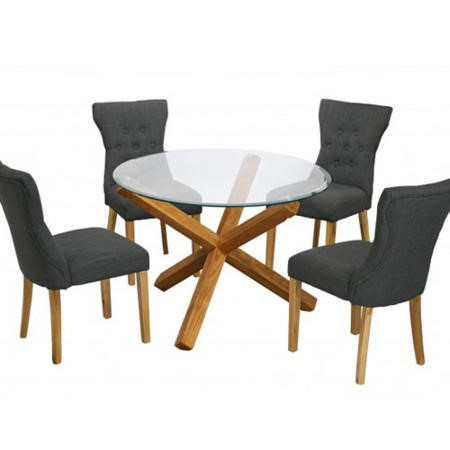 LPD Naples Pair of Grey Dining Chairs with Oak Finished Legs